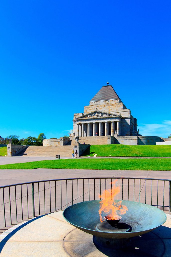 Stock Photo: 1597-164155 Australia, James Wardrop, Kings Domain, Melbourne, Phillip Hudson, Shrine of Remembrance, St. Kilda Road, Tynong granite, Victoria, World War I, monument, style, veterans