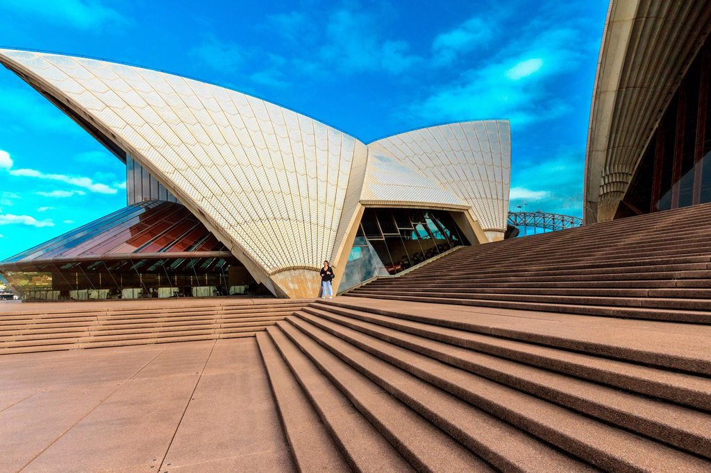Australia, Bennelong Point, CBD, NSW, New South Wales, Opera House, Sydney, Sydney Harbour, UNESCO, World Heritage, Site, architecture, tourism, tourist attraction, stairs : Stock Photo