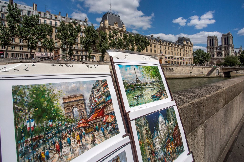 Stock Photo: 1597-164338 France, Europe, travel, Paris, City, Notre Dame, Cathedral, Seine, River, architecture, pictures, skyline, tourism, Unesco, walk