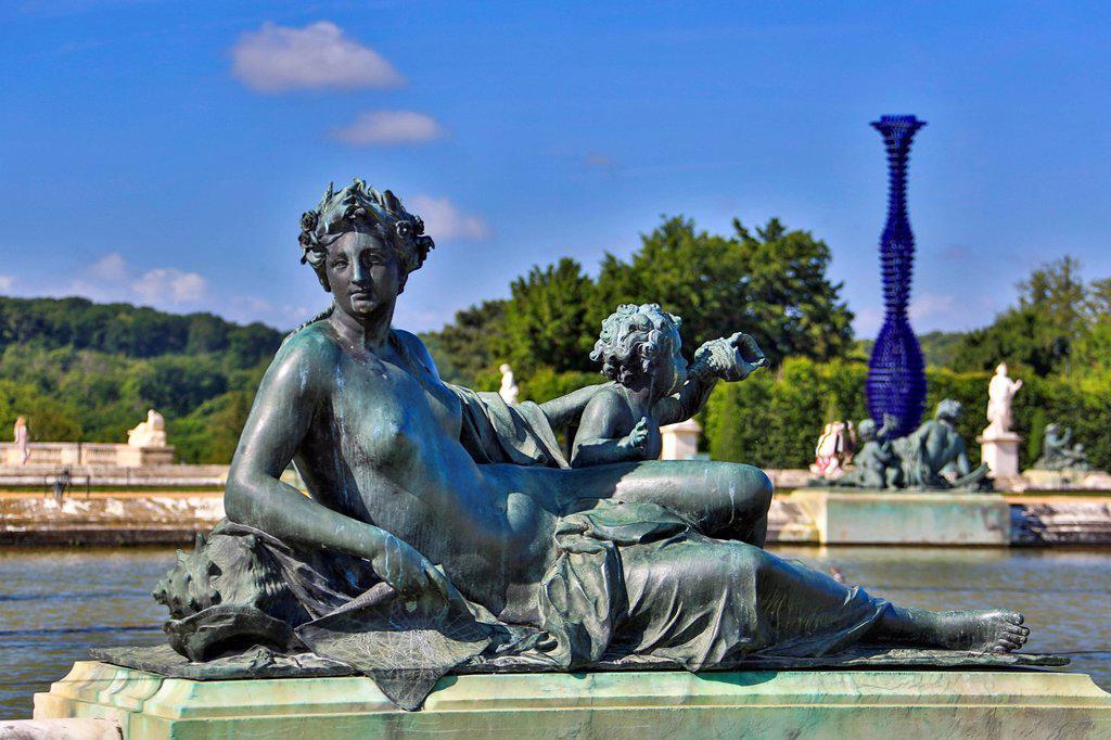 France, Europe, travel, Versailles, world heritage, gardens, detail, architecture, sculpture, art, detail, history, tourism, Unesco : Stock Photo
