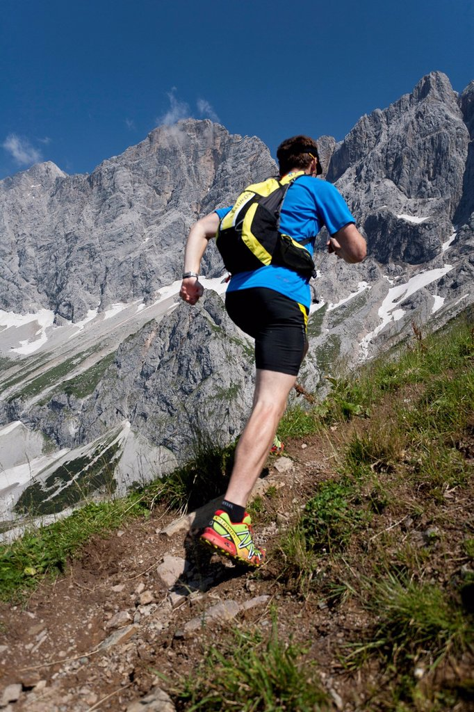 Trailrunning, Trail running, Trail, Ramsau, Dachstein, Styria, Austria, man, precipitous, steep, running, walking, run, mountains, mountain run, jogging, sport, fitness, health, : Stock Photo