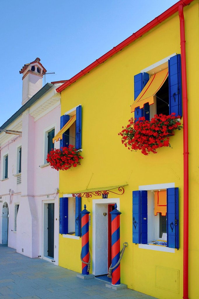 Italy, Europe, travel, Burano, architecture, colourful, colours, tourism, Venice : Stock Photo