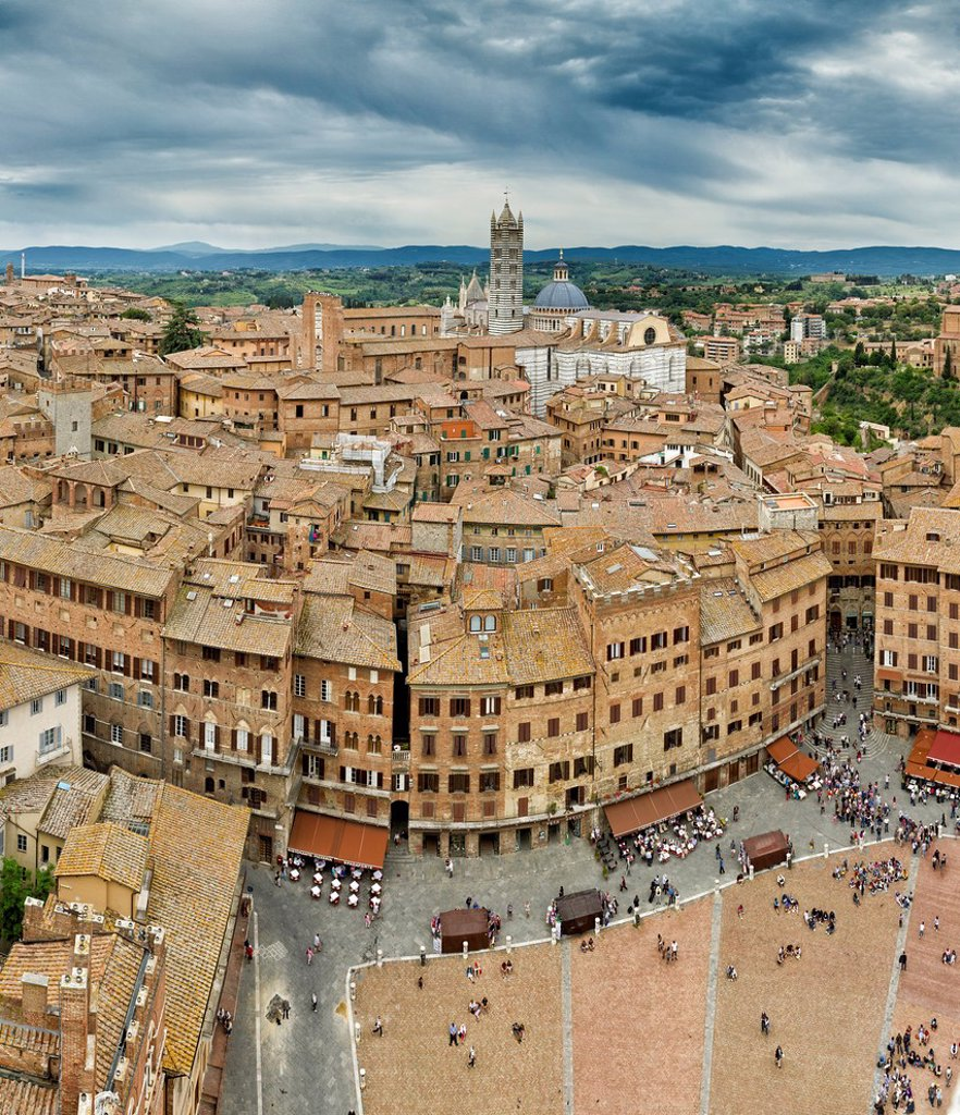 Stock Photo: 1597-165678 Siena, Sienna, Italy, Europe, Tuscany, Toscana, roofs, Piazza, del Campo