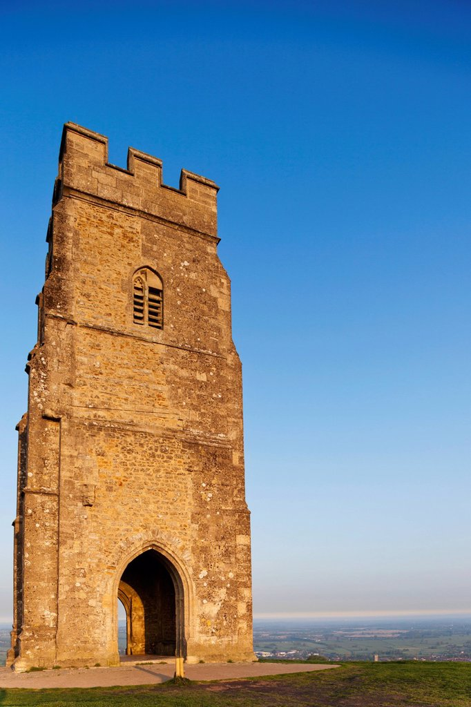 Stock Photo: 1597-165688 UK, United Kingdom, Great Britain, Britain, England, Europe, Somerset, Glastonbury, Glastonbury Tor, Tor, Tower,