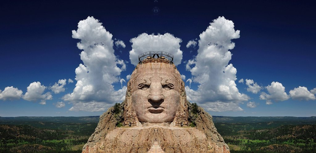 Stock Photo: 1597-165711 Giant, sculpture, rock carving, face, Crazy Horse, Lakota, Sioux, Mountain, Black Hills, South Dakota, USA, United States, America, North America,