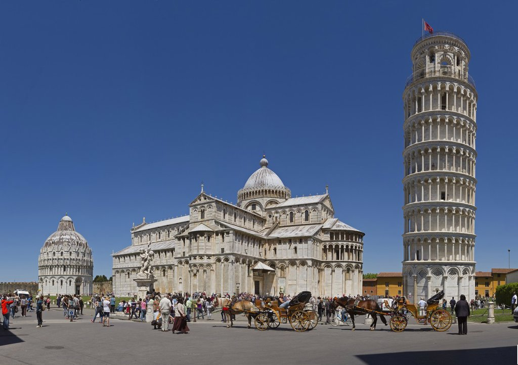 Stock Photo: 1597-165795 Pisa, Italy, Europe, Tuscany, Toscana, baptistry, skew tower, rook, tower, rook, cathedral, dome, cathedral, tourism, coach, horse coach