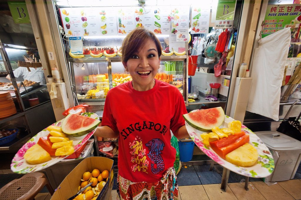 Stock Photo: 1597-165995 Asia, Singapore, Singapore Hawker Center, Fruit, Fresh Fruit, Exotic Fruit, Food, Asian Food, Asian, Asian Girl, Asian Woman, Tourism, Holiday, Vacation, Travel