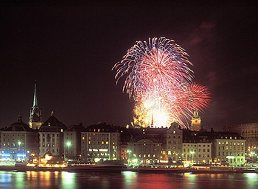 Stock Photo: 1597-16690 at night, city, Fireworks, night, Stockholm, town, Europe