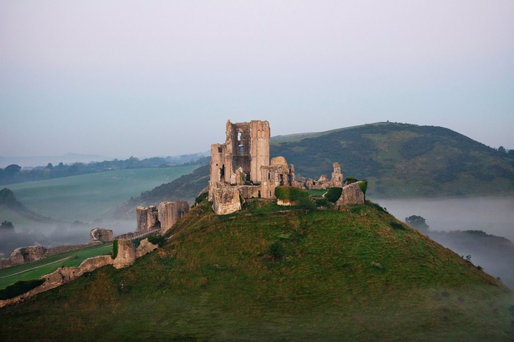Stock Photo: 1597-166946 UK, United Kingdom, Europe, Great Britain, Britain, England, Dorset, Corfe Castle, Castle, Castles, Corfe, Medieval, Mist, Misty, Moody, Tourism, Travel, Holiday, Vacation