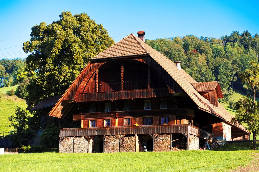 Stock Photo: 1597-166983 farm, farmhouse, farm house, farm stead, firewood, stove wood, fuel wood, oven wood, house, farm, timber cottage, framehouse, frame house, wooden house, canton Bern, Krauchthal, woodpile, pile of wood, Switzerland, hip roof, hipped roof