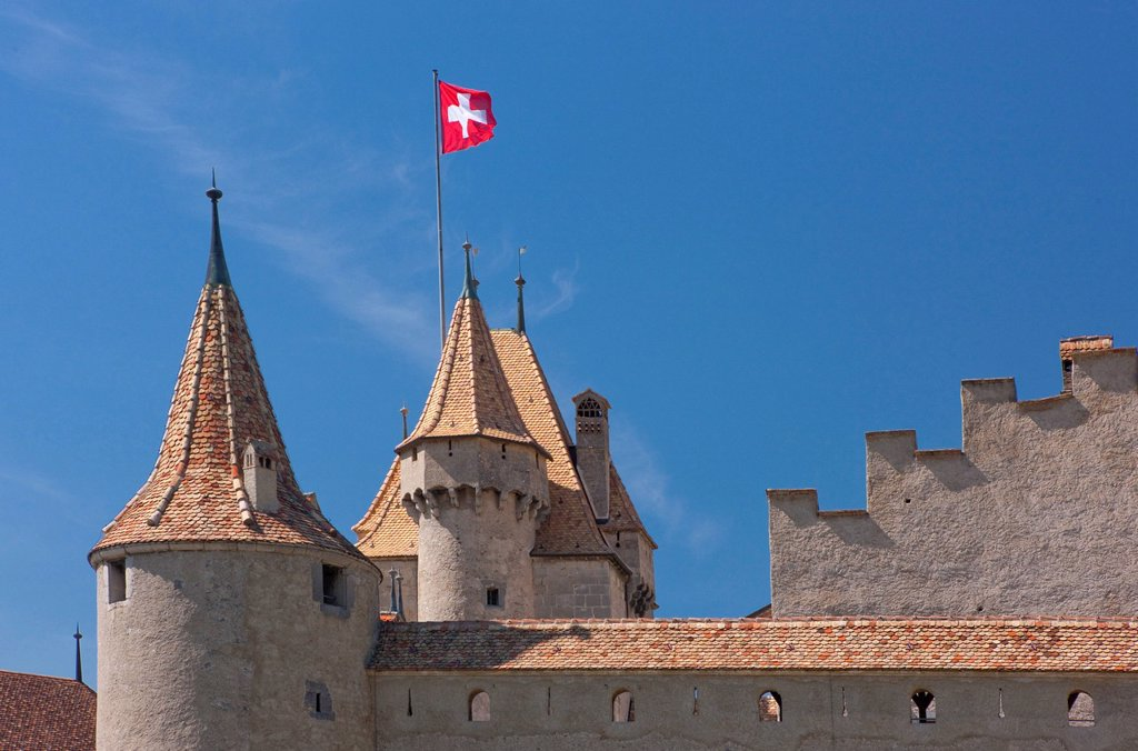 Stock Photo: 1597-167257 castle, wine, shoots, vineyard, wine cultivation, canton, Vaud, Waadt, Switzerland, Europe, Rhone valley, Aigle, Swiss, flag