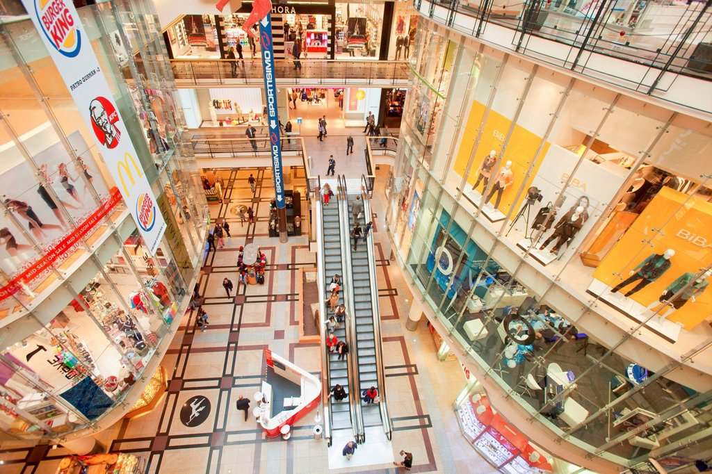 Stock Photo: 1597-168720 Czech republic, Prague, palladium, shopping mall, activity, architecture, building, business, buy, center, city, clothing, colour, commerce, commercial, consumer, consumption, crowd, customer, economy, escalator, fashion, indoor, indoors, interior, luxury. Czech republic, Prague, palladium, shopping mall, activity, architecture, building, business, buy, center, city, clothing, colour, commerce, commercial, consumer, consumption, crowd, customer, economy, escalator, fashion, indoor, indoors, inte