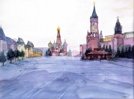 Watercolor, painiting, art, Moscow, Red Square, Lenin Mausoleum, Basilica, Russia : Stock Photo