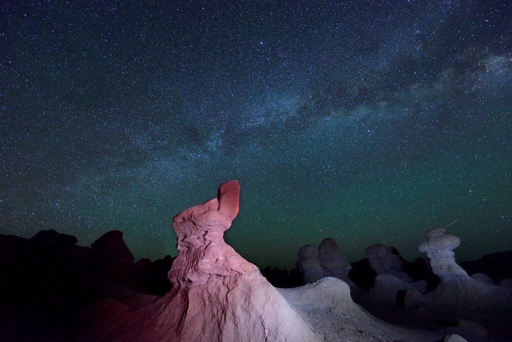 Stock Photo: 1597-169358 America, USA, United States, Colorado Plateau, Utah, Goblin Valley, State Park, Rock Formations, sandstone, night, sky, Astro Photography, Milky Way, stars