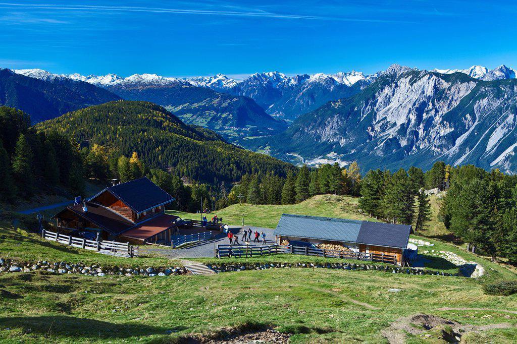 Stock Photo: 1597-169609 Austria, Europe, Tyrol, Tirol, Kühtai, alp, Feldringalm, alpine huts, travellers, mountain inn, mountains, Lechtal Alps, hoher Riffler, Parseierspitze, Inntal, wood, forest, snow, sky, Alpine, grassland, Tschirgant, vacation, Ötztal, Ötz, rest, traveling,. Austria, Europe, Tyrol, Tirol, Kühtai, alp, Feldringalm, alpine huts, travellers, mountain inn, mountains, Lechtal Alps, hoher Riffler, Parseierspitze, Inntal, wood, forest, snow, sky, Alpine, grassland, Tschirgant, vacation, Ötztal, Ötz, rest