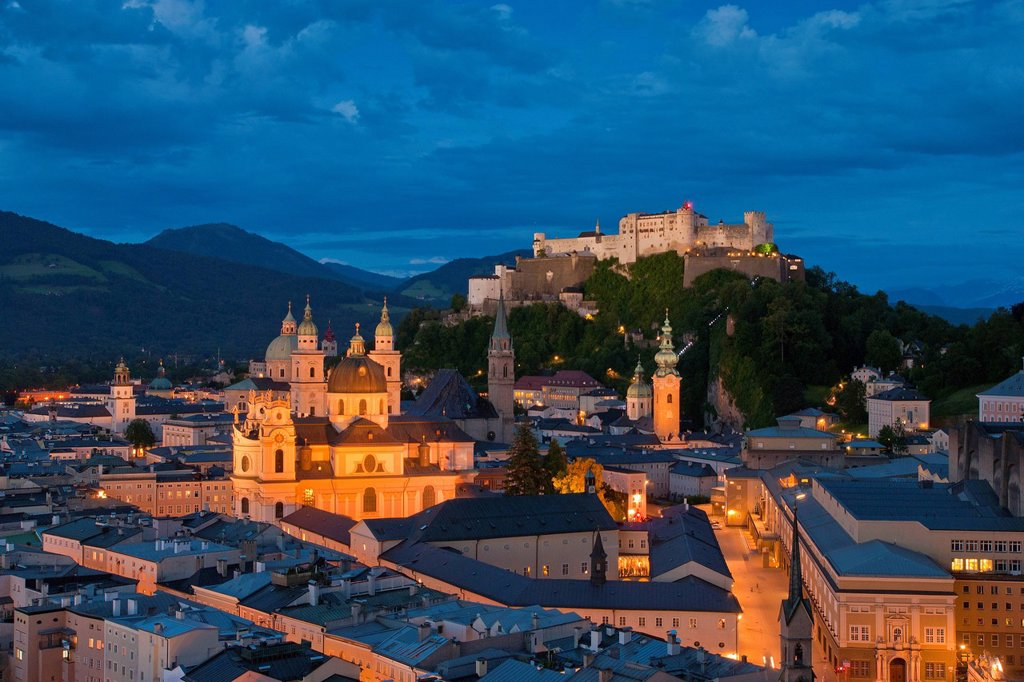 Austria, Europe, Salzburg, fortress, Hohensalzburg, castle, church, faith, religion, art, skill, culture, cathedral, dome, collegial church, Peter´s church, Franciscan, steeple, Old Town, town, city, panorama, night, blue hour, mood : Stock Photo