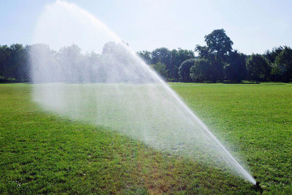 England, London, Regents Park, Watering System : Stock Photo