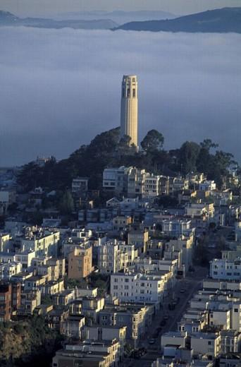 Stock Photo: 1597-17042 California, Coit Tower, San Francisco, USA, America, United States, North America, fog, city