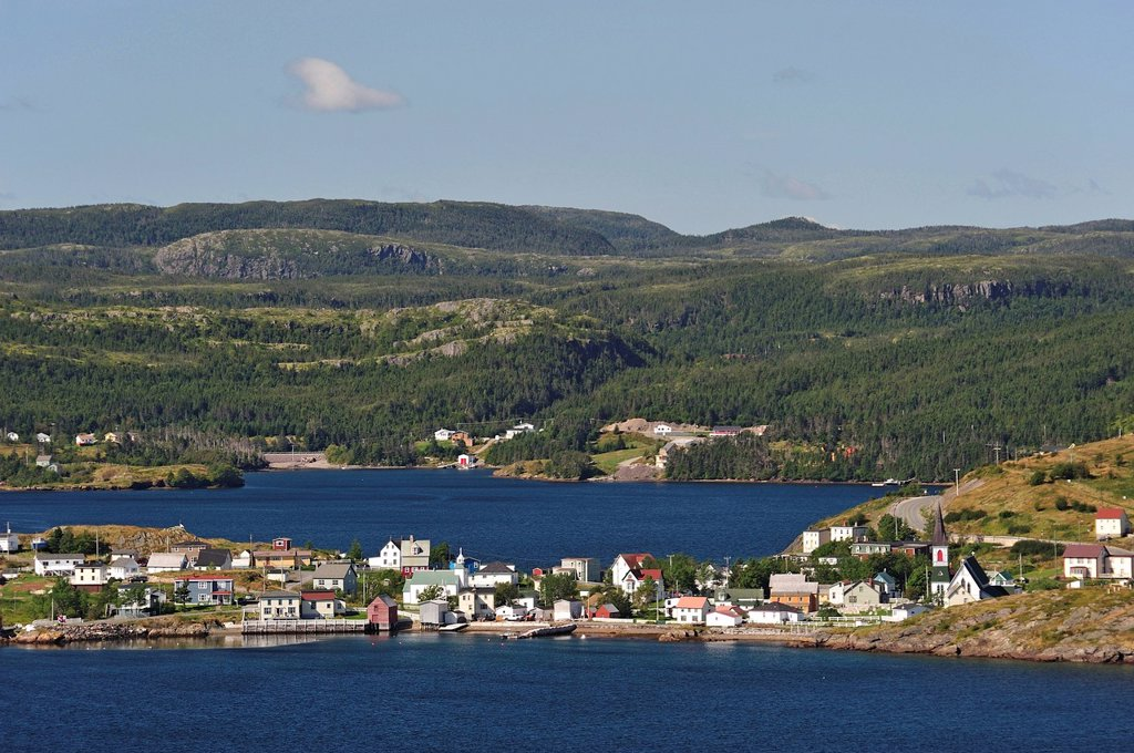 Trinity, Newfoundland, Canada, village, coast, lake, forest : Stock Photo