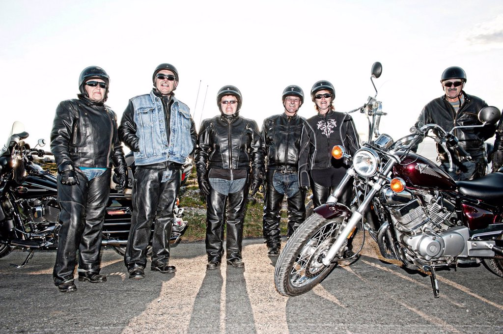 Stock Photo: 1597-170679 Bikers, bike, Bonavista, Lighthouse, Newfoundland, Canada, leather, group, no model release