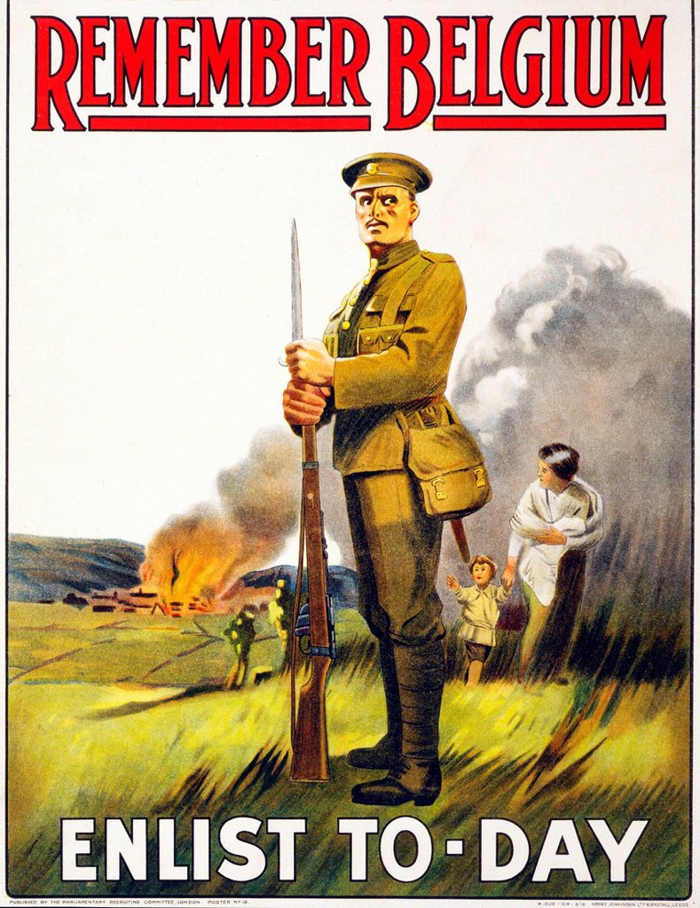 First World War, WWI, World War I, world war, war, Europe, propaganda, poster, Great Britain, British, recruitment poster, soldier, military, army, woman, child, burn, village, flee, Thinking, Remember, Belgium, 1915, : Stock Photo