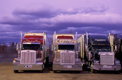 Nevada, Trucks, Reno, USA, America, United States, twilight, logistics, traffic, transport, parking area : Stock Photo