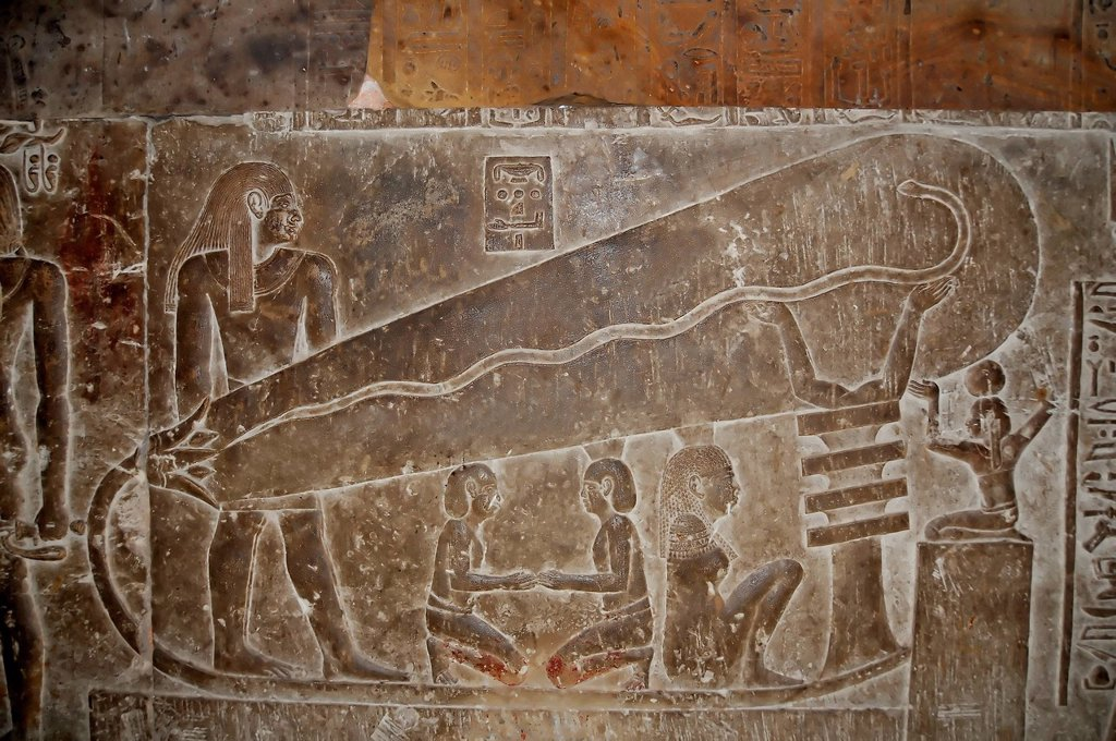 Stock Photo: 1597-174947 The Dendera light, controversially used by many as proof that the ancient egyptians had access to electricity in the crypt of the ancient Egyptian fertility and love temple of the goddess Hathor at Dendera, in Egypt