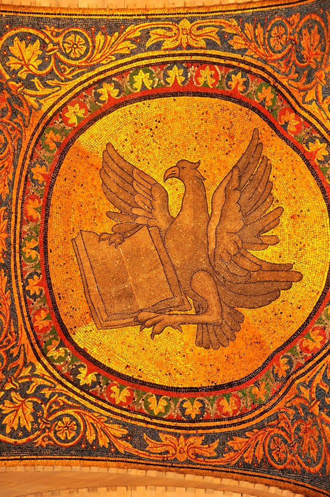 Stock Photo: 1597-174968 Magnificent golden mosaic of an eagle with bible, symbolising the evangelist John from the basilica of St Mark, Venice, Italy