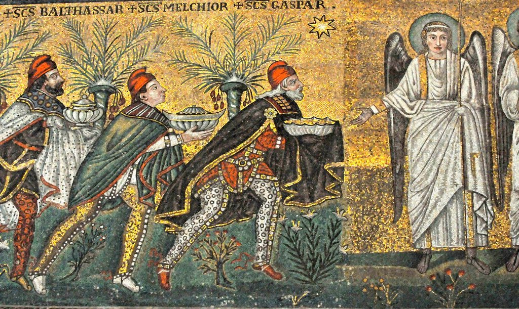 Stock Photo: 1597-175061 the three magi present their gifts to an angel in the nativity scene. Ancient UNESCO listed mosaic from Ravenna, Italy