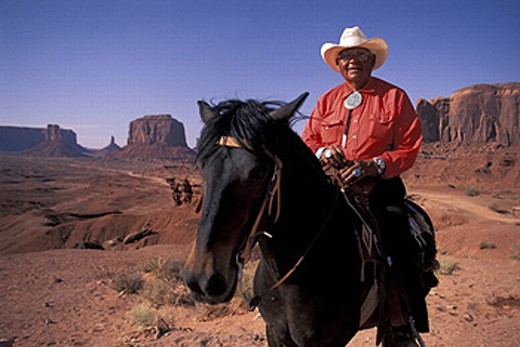 Arizona, fully released, John Ford´s Point, Monument Valley, Navajo Nation Tribal Park, Navajo Rider, USA, America, : Stock Photo