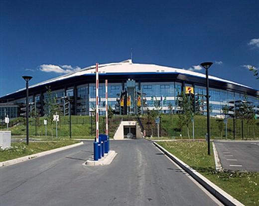 Stock Photo: 1597-17832 arena on Schalke, FC Schalke 04, Gelsenkirchen, Germany, Europe, gymnasium, North Rhine Westphalia, parking, Ruhr ar