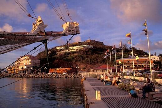 Stock Photo: 1597-18010 coast, harbor, mood, no model release, person, port, port de Marigot, Saint Maarten, sea, ship, shore, St. Martin, C