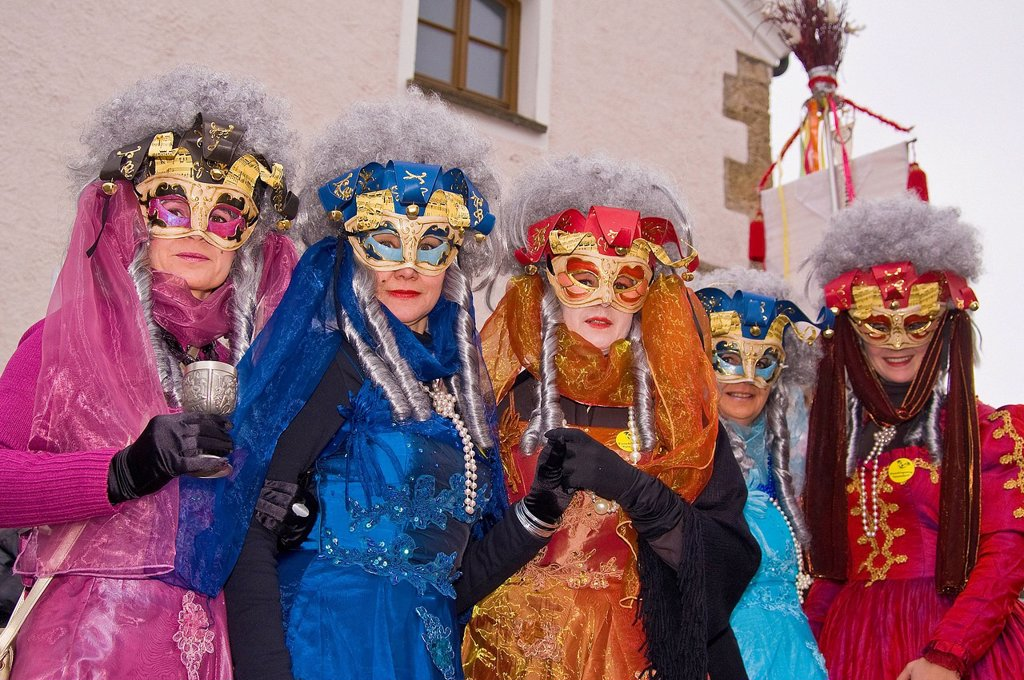 Stock Photo: 1597-181570 Bavaria, Germany, Upper Bavaria, custom, tradition, Teisendorf, Berchtesgaden Area, customs, carnival, mask, disguises, make up, made up, greasepaint, joy, fun, joke, amusing, joy, joy of life, face, Women, painted face, Venice
