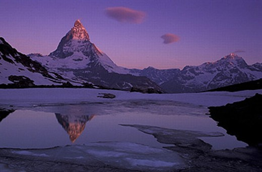 Canton Valais, dusk, ice, lake, Matterhorn, mood, mountain lake, mountains, Riffelsee, rock, scenery, landscape, sno : Stock Photo