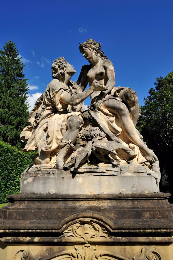 Stock Photo: 1597-183425 Venus, Adonis, architecture, Bavaria, Bavarian, castle, Germany, Garmisch-Partenkirchen, Europe, exterior, garden, Germany, Linderhof, Ludwig II, outdoor, outside, palace, park, sculpture, statue, vertical