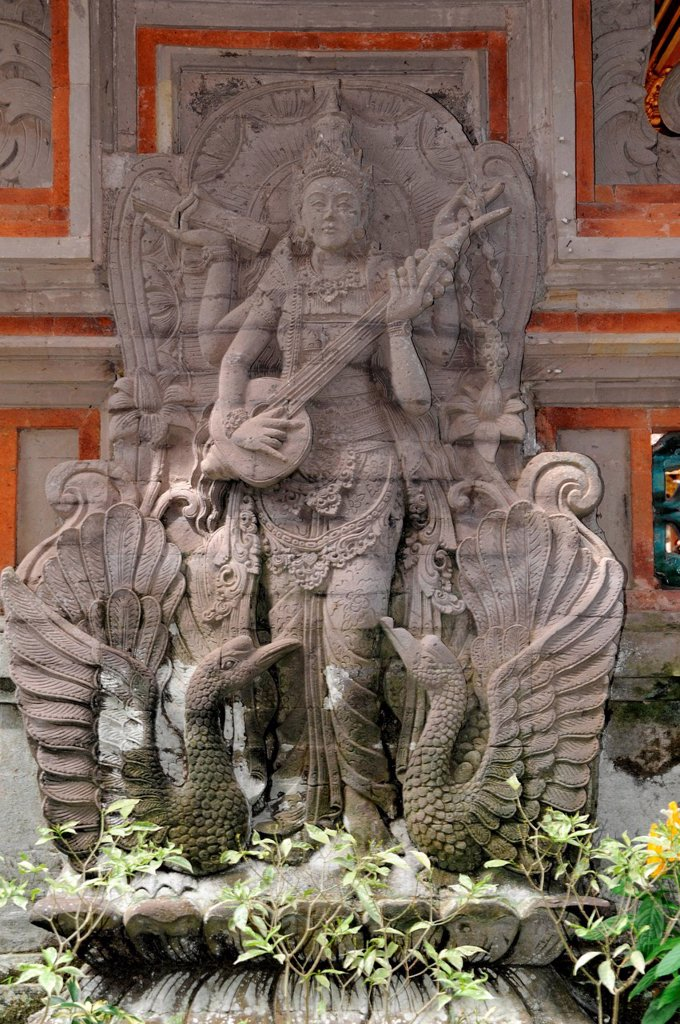 Asia, Indonesia, Bali, Ubud, Dalem, temple, culture, sanctuary, sculpture, musician : Stock Photo