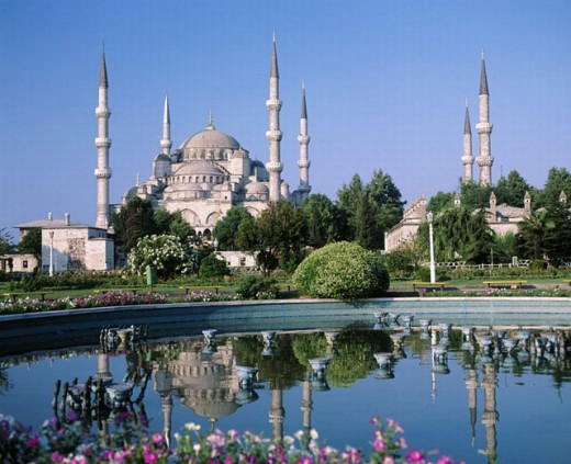 blue mosque, Istanbul, park, reflection, pond, Turkey, : Stock Photo