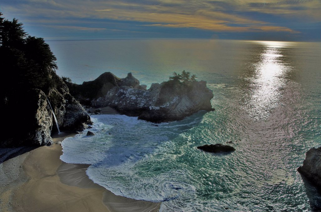 McWay Falls, Julia Pfeiffer Burns, sea, coast, landscape, State Park, USA, United States, America, California, : Stock Photo