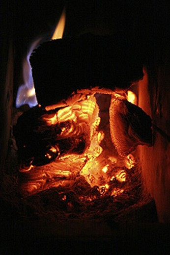 burn, coal, fireplaces, fires, flames, wood : Stock Photo