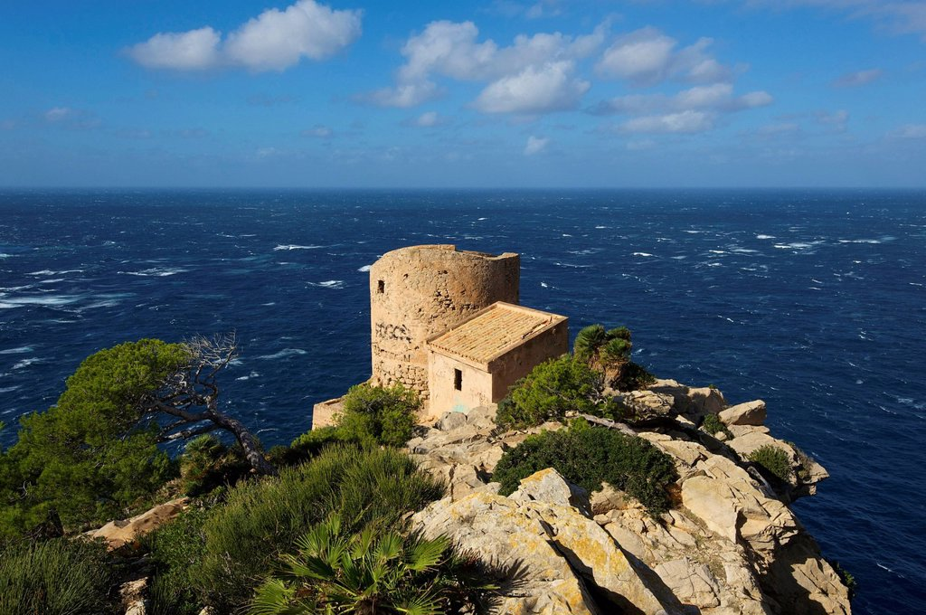 Balearic Islands, Majorca, Spain, Europe, Torre Cala d'en basset, Sant Elm, military tower, tower, coast, scenery, landscape, building, architecture, Mediterranean Sea, sea, outside, nobody, : Stock Photo