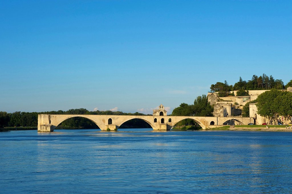 France, Europe, Provence, South of France, Avignon, Saint Benetzet, bridge, architecture, landmark, place of interest, building, architecture, Rhone, outside, day, nobody, : Stock Photo