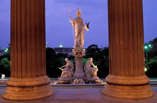 Stock Photo: 1597-19080 Austria, Europe, Color, Colour, Statue, night, sculptures, parliament, Vienna