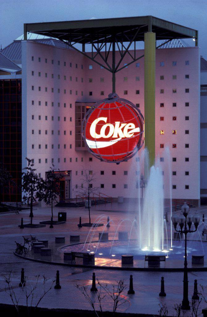 Stock Photo: 1597-19132 America, Atlanta, Georgia, United States, USA, America, North America, Vertical, World of coca cola building, dusk