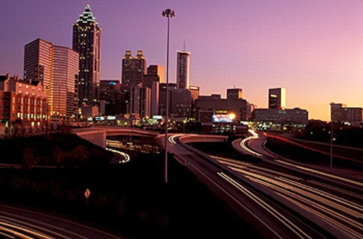 Stock Photo: 1597-19136 America, Georgia, Skyline, Downtown, Atlanta, dusk, United States, North America, USA, America