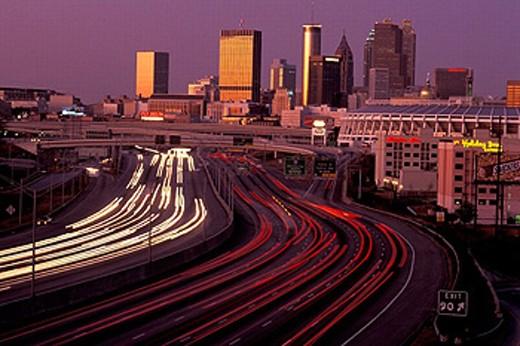 America, Freeways, Downtown, Atlanta, twilight, Georgia, United States, North America, USA, America, skyline : Stock Photo