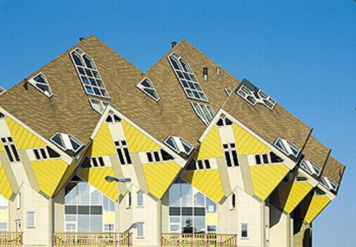 Stock Photo: 1597-19385 Architecture, Cube, extreme, Holland, Homes, House, Houses, Modern, Rotterdam, Netherlands