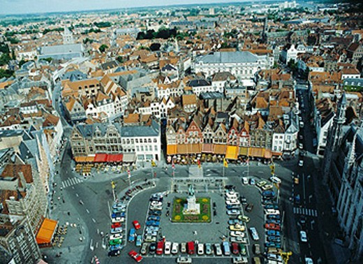 Belgium, Brugge, Bruges, Grote market, houses, homes, overview, : Stock Photo