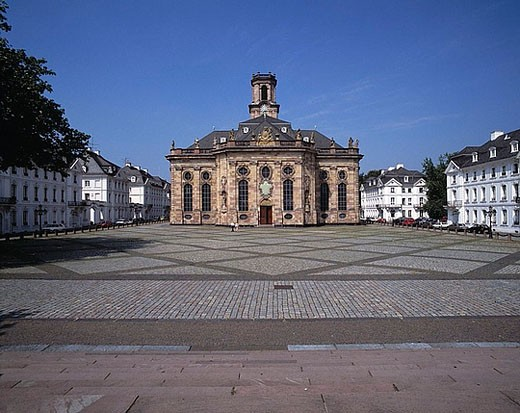 Stock Photo: 1597-24839 Ludwig place, baroque Ludwig church, church, baroque, baroque church, Saarbrucken, Saar, Saarland, Duetschland