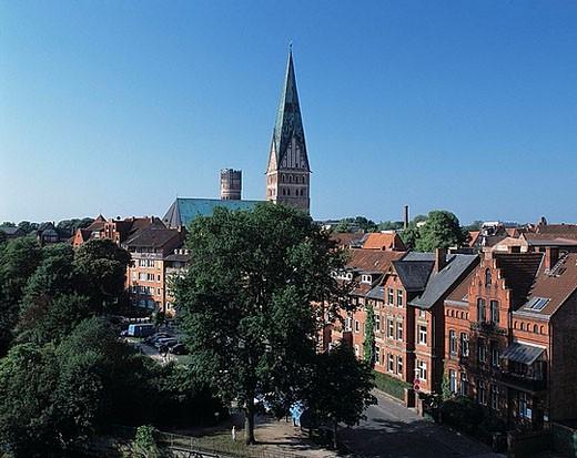 Luneburg, Saint Johannes, church, water tower, town look, Ilmenau, Germany, Europe, Lower Saxony : Stock Photo