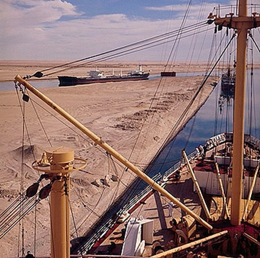 Suez canal, Sues, Suez, Canal, Sues, Ballah loop, freighter, in 1965, historical picture, ships, Egypt, Africa, : Stock Photo